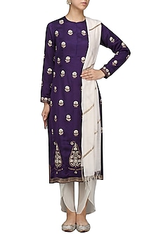 Purple Embroidered Kurta with Tulip Salwar Set by Radhika Airi