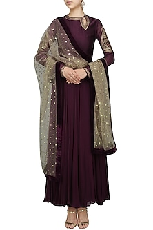 Wine Embroidered Anarkali Set by Radhika Airi