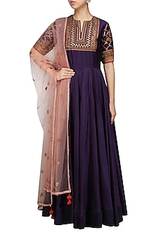 Purple Embroidered Anarkali Set by Radhika Airi