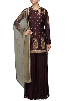 Wine Embroidered Short Kurta with Sharara Pants Set by Radhika Airi