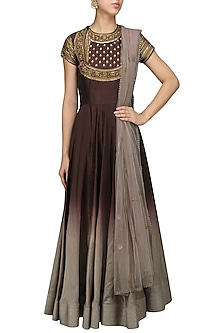 Wine To Grey Ombred Embroidered Anarkali Set by Radhika Airi