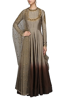 Grey To Wine Ombred Embroidered Anarkali Set by Radhika Airi