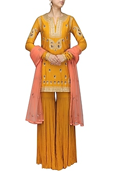 Mustard Embroidered Kurta with Gharara Set by Radhika Airi