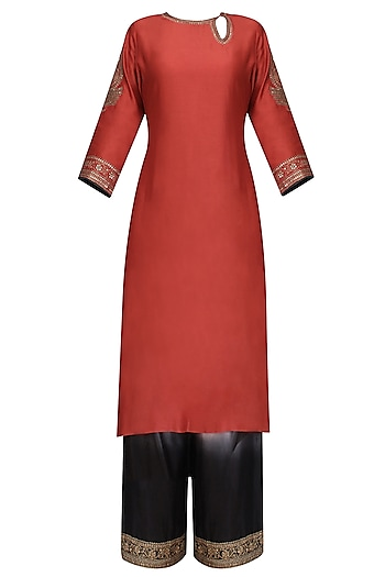 Red Embroidered Kurta with Ombre Shaded Pants   by Radhika Airi