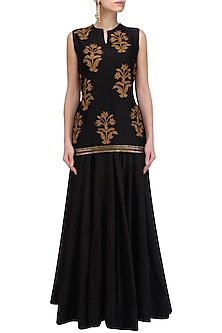 Black Floral Motifs Short Kurta and Skirt Set by Radhika Airi