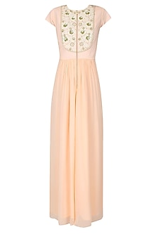 Light Peach Floral Thread and Sequins Embroidered Jumpsuit by Ridhi Arora