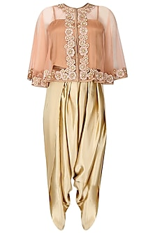 Peach Floral Thread Embroidered Cape with An Inner and Dark Beige Dhoti Pants Set by Ridhi Arora