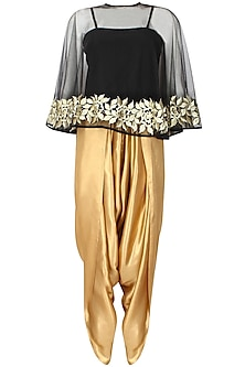 Black Floral Thread Embroidered Cape with An Inner and Gold Shimmer Dhoti Pants Set by Ridhi Arora