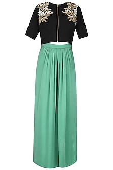 Black Embroidered Flower Motifs Crop Top and Green Palazzo Pants Set by Ridhi Arora