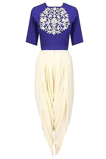 Royal blue embroidered crop top and ivory dhoti pants set by Ridhi Arora