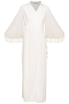 Ivory embroidered fringe jumpsuit by Ridhi Arora