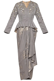 Grey gold embroidered peplum top with drape skirt by Ridhi Arora