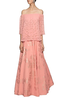 Peach embroidered crop top with skirt by Ridhi Arora