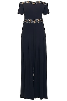 Navy blue embroidered off shoulder jumpsuit by Ridhi Arora