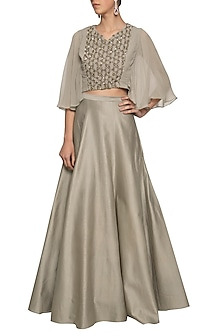 Grey gold embroidered crop top with skirt by Ridhi Arora