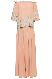 Salmon pink embroidered cape with pants by Ridhi Arora