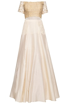 Ivory embroidered crop top with skirt by Ridhi Arora