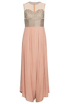 Salmon pink embroidered jumpsuit by Ridhi Arora
