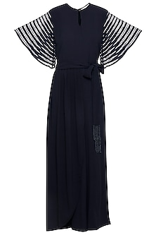 Navy blue embroidered jumpsuit by Ridhi Arora