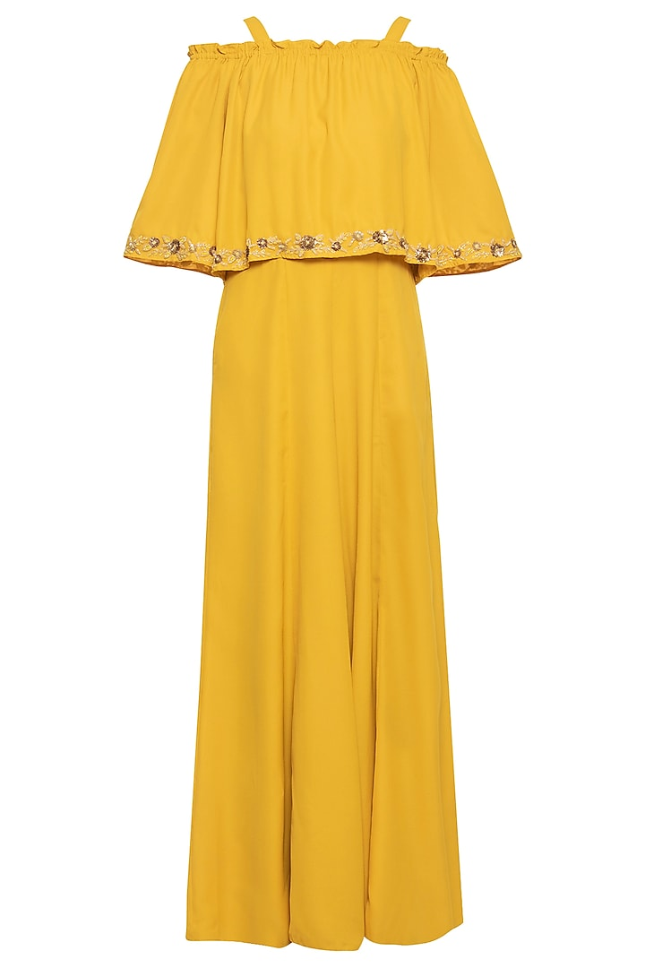 Mango yellow embroidered jumpsuit by Ridhi Arora