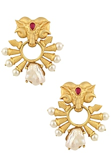 Gold Finish Rams Head Earrings by Rohita and Deepa