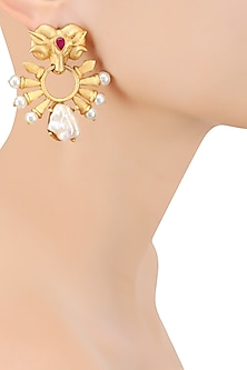 Gold Finish Rams Head Earrings by Rohita and Deepa