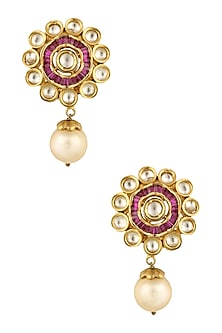 Gold Finish Kundan Crystal and Pink Cubic Zircon Earrings by Rohita and Deepa