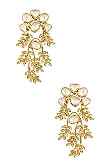 Gold Finish Kundan Crystal Leaf Motif Earrings by Rohita and Deepa