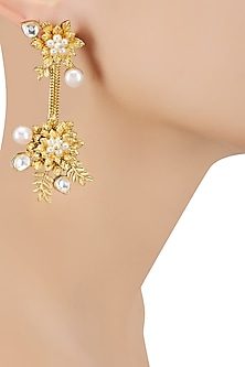 Gold Finish Leaf Motif Earrings by Rohita and Deepa