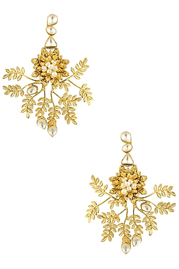 Gold Finish Kundan Crystal and Pearl Leaf Motif Earrings by Rohita and Deepa