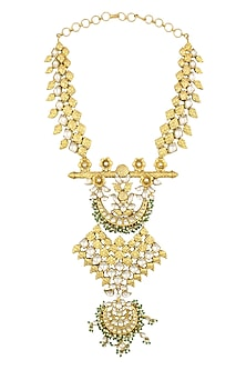 Gold Finish Stamping Work Necklace by Rohita and Deepa