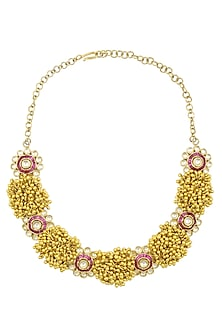 "Gold Finish ""Mogra"" Bunch Necklace by Rohita and Deepa"