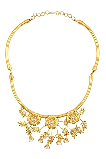 Gold Finish Baby Pearl Details Floral Motif Necklace by Rohita and Deepa