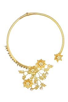 Gold Finish Floral Motif Necklace by Rohita and Deepa