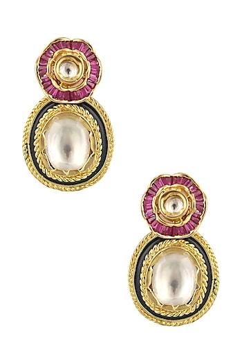 Matte Gold Finish Large Uncut Kundan Earrings by Rohita and Deepa