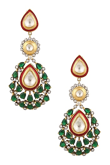 Matte Gold Finish Green Onyx and Kundan Crystal Earrings by Rohita and Deepa