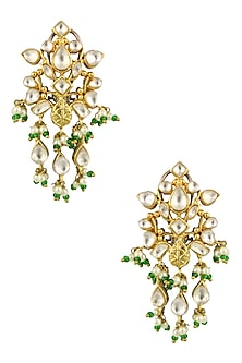 Matte Gold Finish Kundan Crystal and Pearl Danglers Earrings by Rohita and Deepa