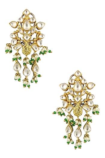 Matte Gold Finish Kundan Crystal and Pearl Danglers Earrings by Rohita and Deepa