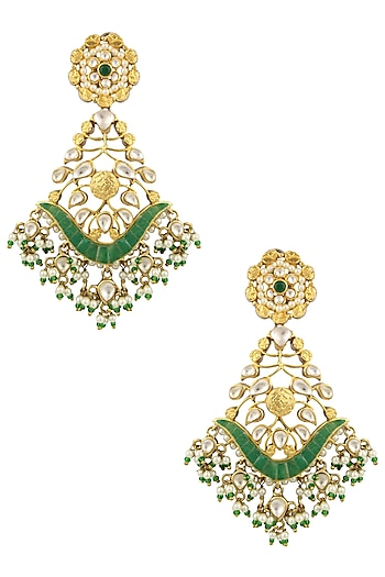 Matte Gold Finish Green Stone and Kundan Crystal Danglers Earrings by Rohita and Deepa