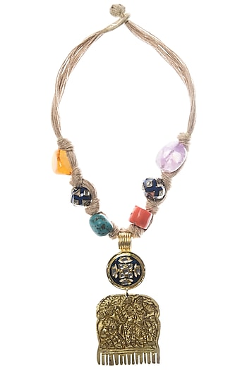 Gold Plated Metal and Kundan Crystal Necklace by Rohita and Deepa