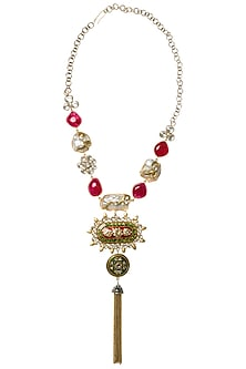 Gold Plated Chain Tassel Necklace by Rohita and Deepa