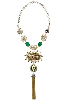 Gold Plated Green Onyx Kundan Necklace by Rohita and Deepa