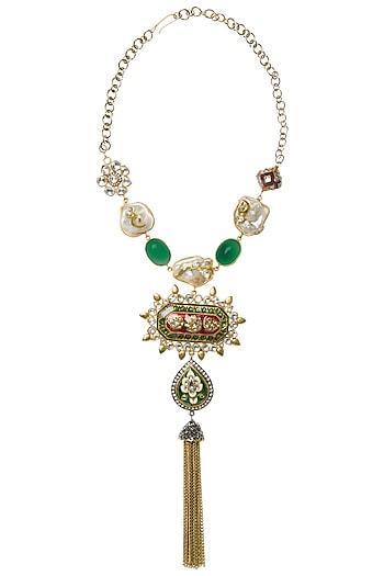 Gold Plated Green Onyx Kundan Necklace by Rohita and Deepa