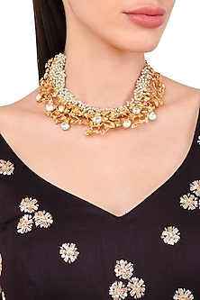 Gold Plated Vine Creeper Motif Necklace by Rohita and Deepa