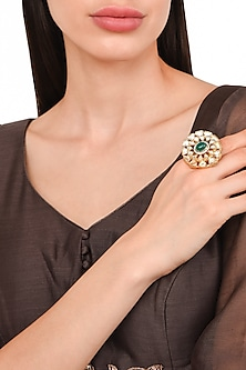 Gold Plated Finger Green Onyx Ring by Rohita and Deepa