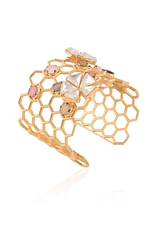 Gold Matte Finish Honey Comb Weave Cuff by Rohita and Deepa