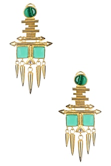 Gold Matte Finish Malachite And Deco Glass Earrings by Rohita and Deepa
