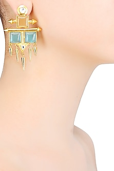 Gold Matte Finish Blue Deco Glass Hanging Spikes Earrings by Rohita and Deepa