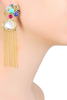 Gold Matte Finish Colored Glass Stone And Baroque Pearl Tassel Earrings by Rohita and Deepa
