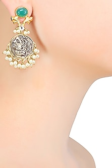 Antique Finish Coin Motif Earrings by Rohita and Deepa
